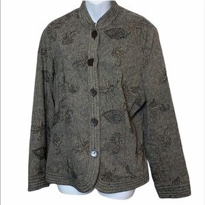 RQT Black Gray Jacket with Embroidery
